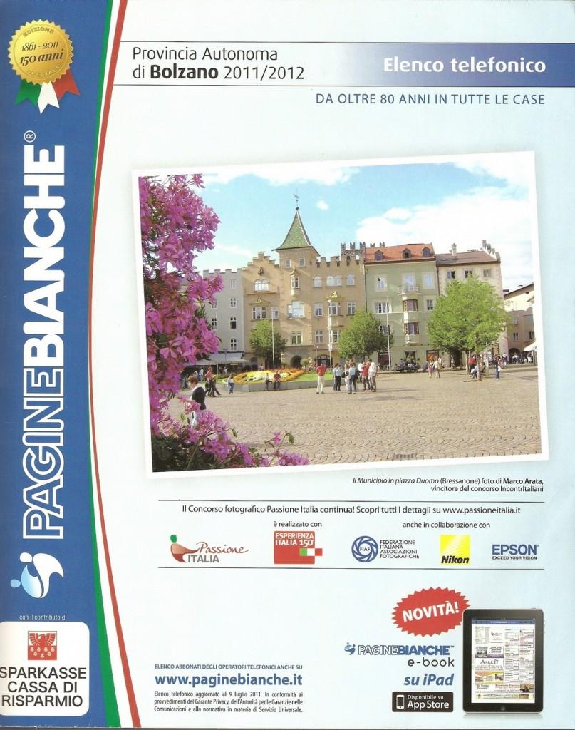 Copertina PagineBianche Bolzano 2011/2012 - lingua italiana