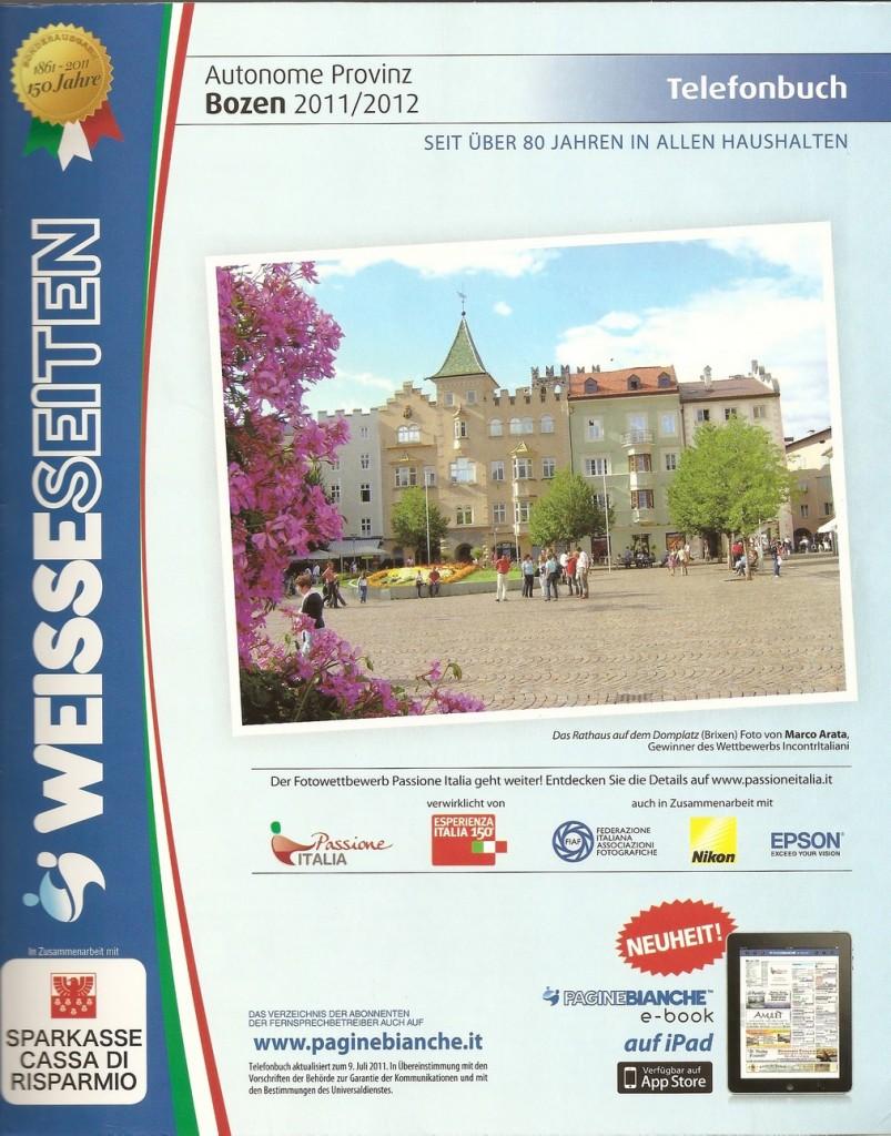 Copertina PagineBianche Bolzano 2011/2012 - lingua tedesca