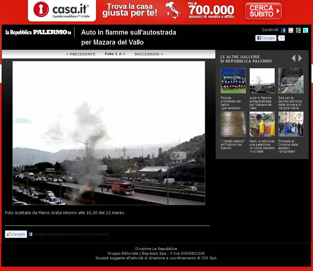 Repubblica.it ed. Palermo -  Auto in fiamme sull'autostrada per Mazara del Vallo - Foto 1 di 4
