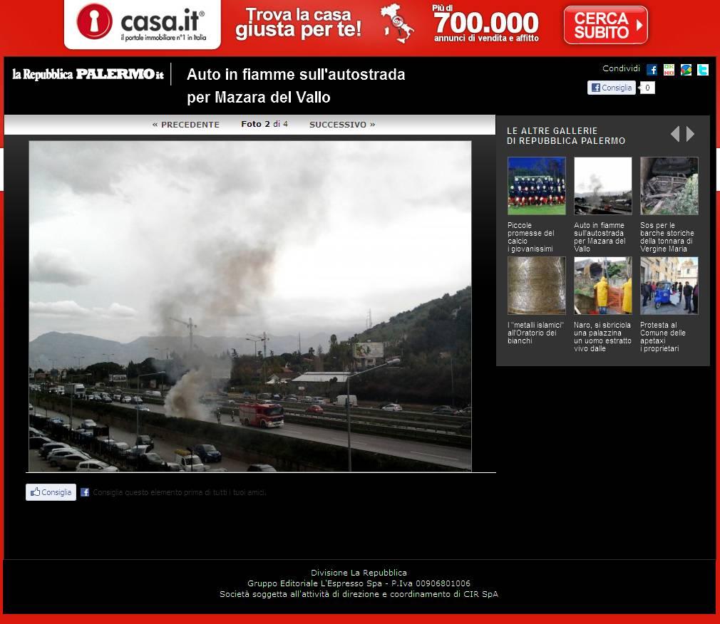 Repubblica.it ed. Palermo - Auto in fiamme sull'autostrada per Mazara del Vallo - Foto 2 di 4