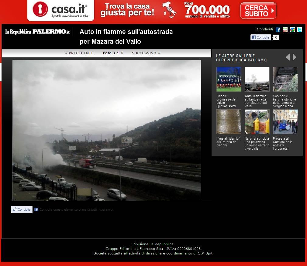 Repubblica.it ed. Palermo - Auto in fiamme sull'autostrada per Mazara del Vallo - Foto 3 di 4uto in fiamme 3