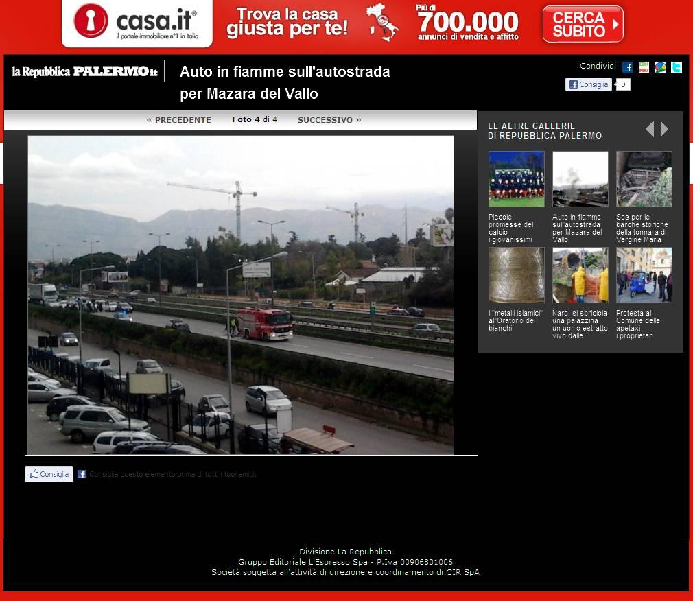 Repubblica.it ed. Palermo - Auto in fiamme sull'autostrada per Mazara del Vallo - Foto 4 di 4