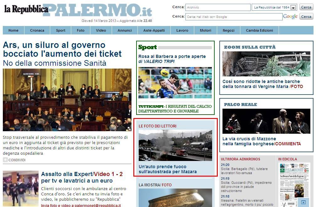 Repubblica.it ed. Palermo - Home page
