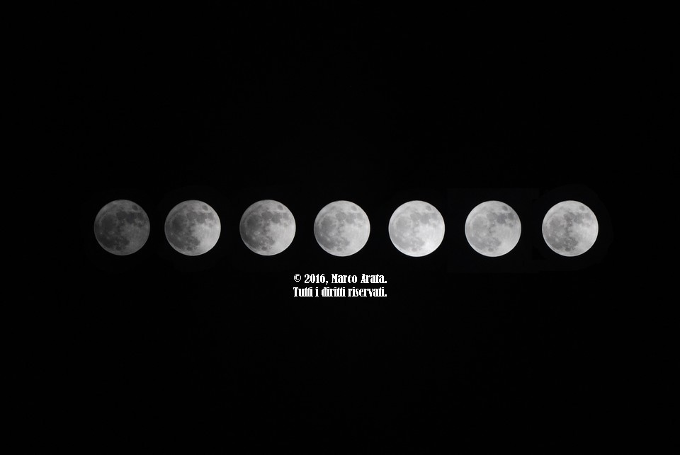 Un collage di 7 scatti effettuati a mano libera Un collage di 7 scatti effettuati a mano libera e a priorità di tempo, in cui il nostro satellite mostra varie sfumature della sua bellezza. Data di scatto: 14/11/2016.