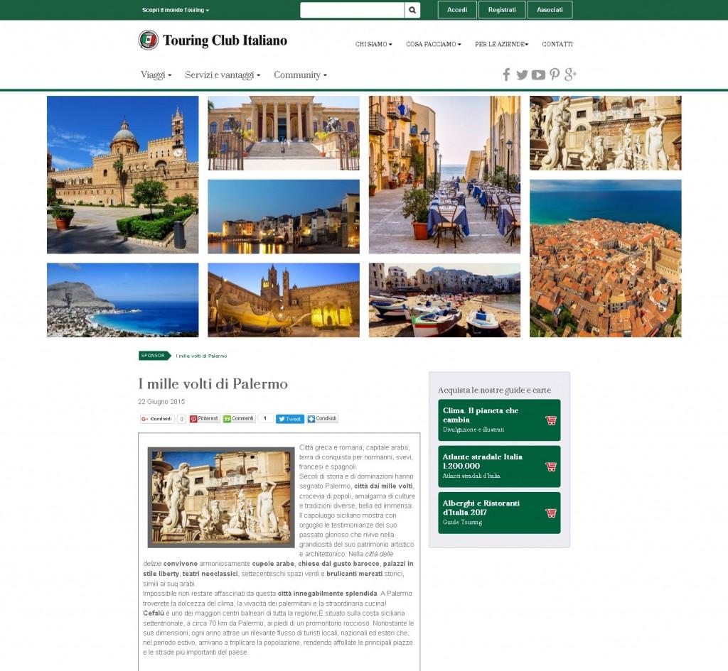 """La mia foto """"Mondello dall'alto"""" pubblicata sul sito del Touring Club Italiano."""