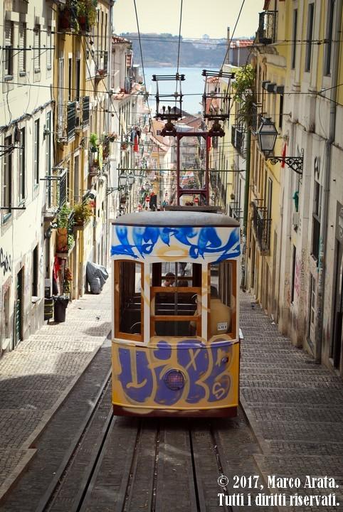 Uno scorcio suggestivo da quella che è probabilmente la strada più fotografata di Lisbona, appartenente al caratteristico quartiere storico di Bica. Data di scatto: 09/09/2017.